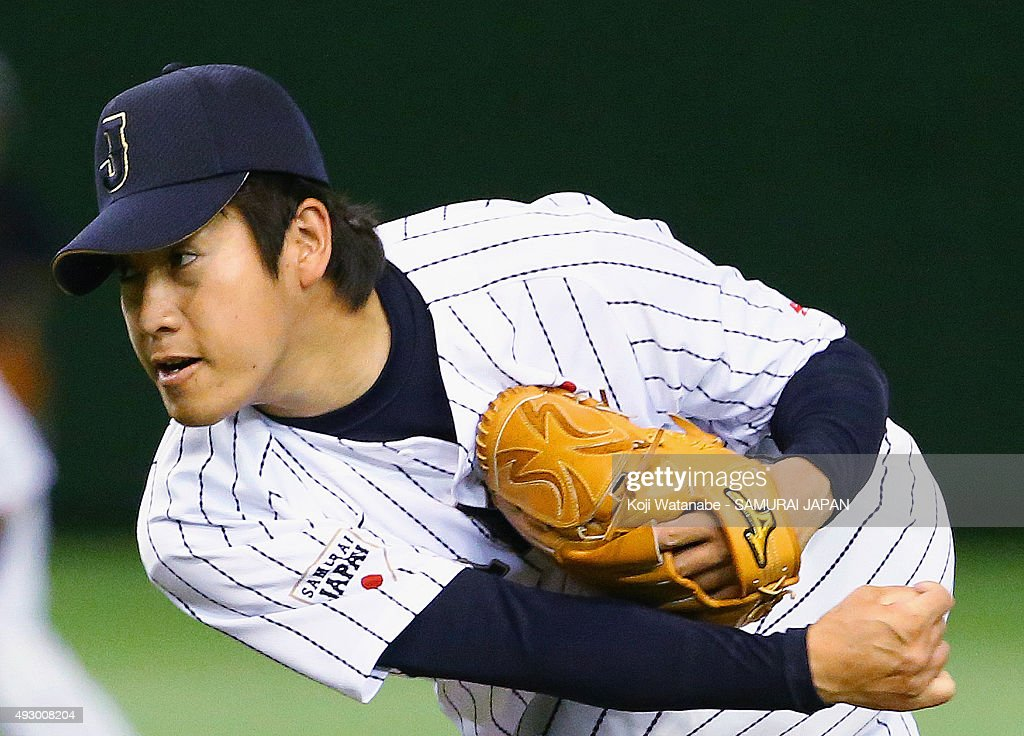 <a gi-track='captionPersonalityLinkClicked' href=/galleries/search?phrase=Kazuhisa+Makita&family=editorial&specificpeople=10508674 ng-click='$event.stopPropagation()'>Kazuhisa Makita</a> #37 of Samurai Japan pitches during Samurai Japan v All Euro match at the Tokyo Dome on March 10, 2015 in Tokyo, Japan.