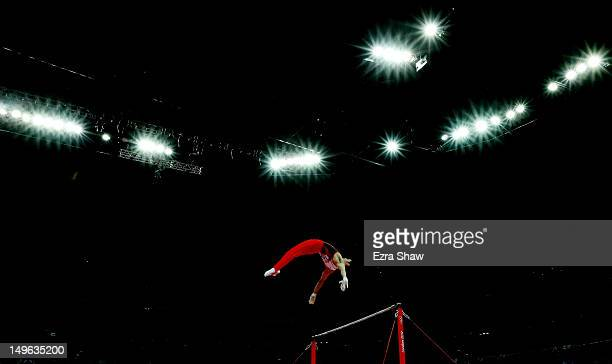 Kazuhito Tanaka of Japan competes on the horizontal bar in the Artistic Gymnastics Men's Individual AllAround final on Day 5 of the London 2012...