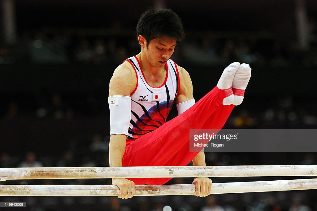 Kazuhito Tanaka of Japan Gymnastics Men's Parallel Bars final on Day 11 of the London 2012 Olympic Games at North Greenwich Arena on August 7 2012 in...