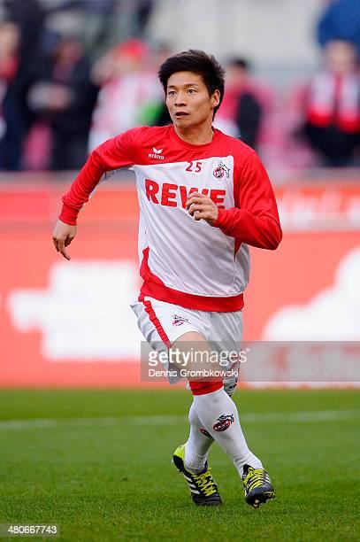 Kazuki Nagasawa of 1 FC Koeln warms up prior to the Second Bundesliga match between 1 FC Koeln and Karlsruher SC at RheinEnergieStadion on March 26...
