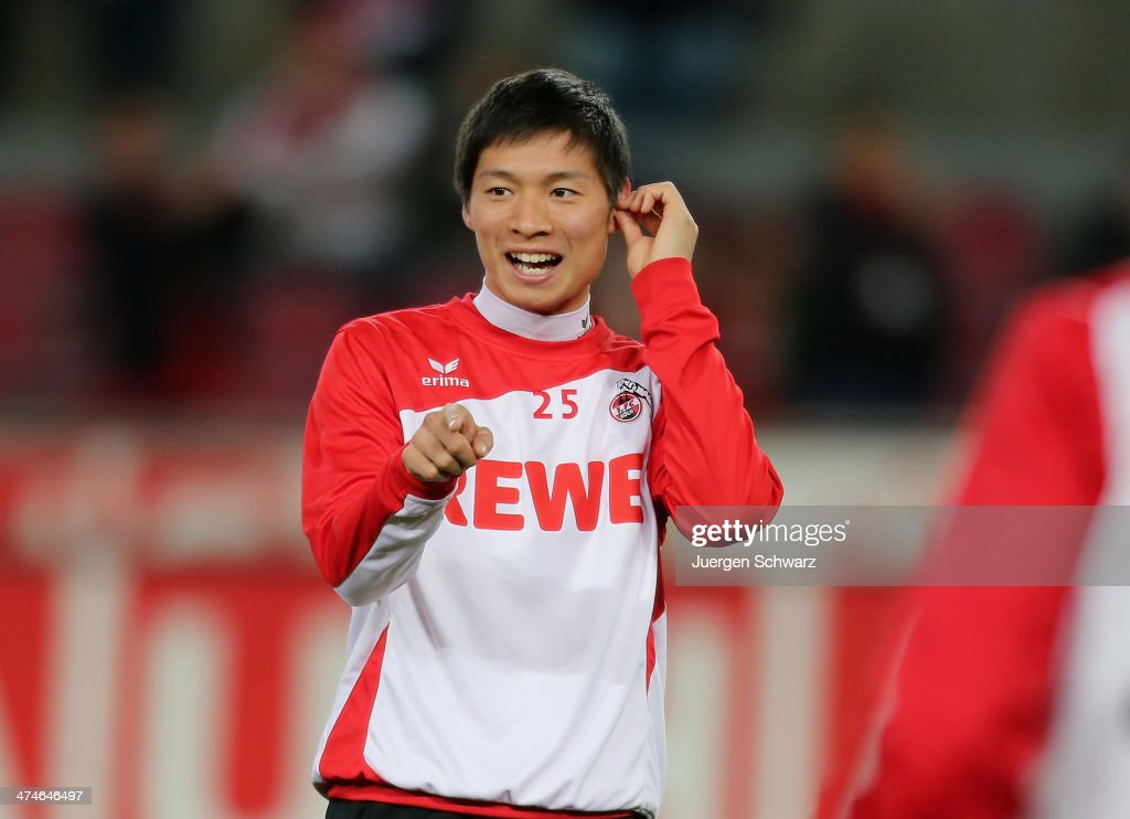 <a gi-track='captionPersonalityLinkClicked' href=/galleries/search?phrase=Kazuki+Nagasawa&family=editorial&specificpeople=12349616 ng-click='$event.stopPropagation()'>Kazuki Nagasawa</a> of Cologne warms up at the Second Bundesliga match between 1. FC Koeln and Greuther Fuerth at RheinEnergieStadion on February 24, 2014 in Cologne, Germany.