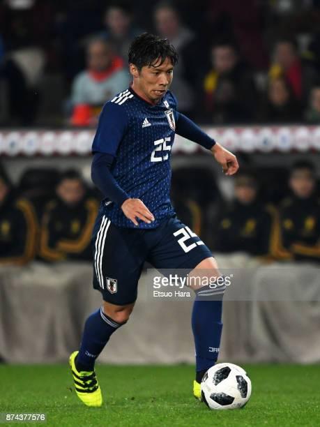 Kazuki Nagasawa of Japan in action during the international friendly match between Belgium and Japan at Jan Breydel Stadium on November 14 2017 in...