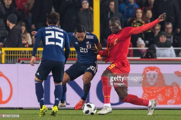 Kazuki Nagasawa of Japan Tomoaki Makino of Japan Romelu Lukaku of Belgium during the friendly match between Belgium and Japan on November 14 2017 at...