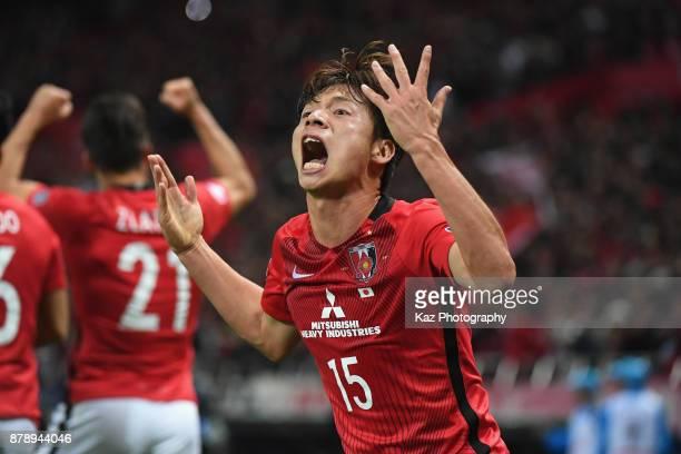Kazuki Nagasawa of Urawa Red Diamonds celebrates his side's first goal during the AFC Champions League Final second leg match between Urawa Red...