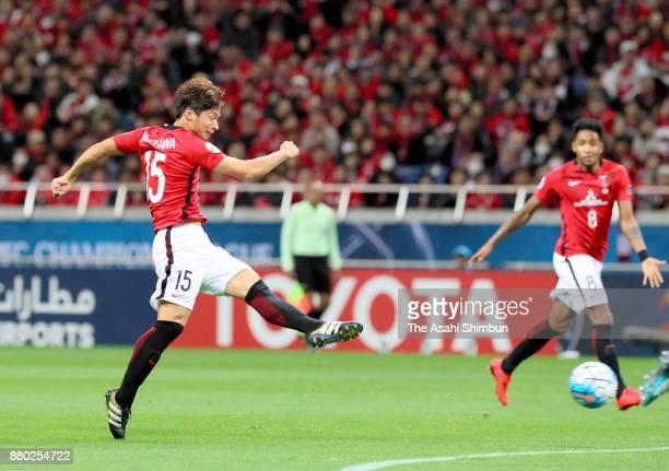 Kazuki Nagasawa of Urawa Red Diamonds shoots at goal during the AFC Champions League Final second leg match between Urawa Red Diamonds and AlHilal at...