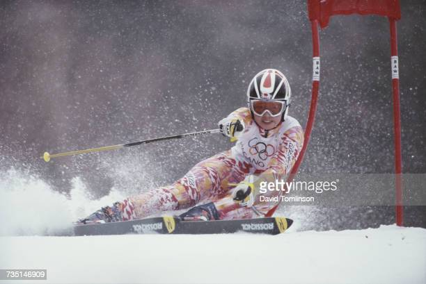 Kazuko Ikeda of Japan skiing in the Women's Giant Slalom event on 20 February 1998 during the XVIII Olympic Winter Games at Shiga Kogen Nagano Japan