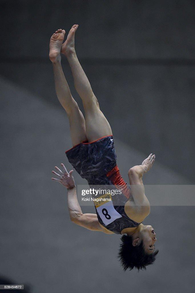 Kazuma Kaya competes in the Floor Exercize during the Artistic Gymnastics NHK Trophy at Yoyogi National Gymnasium on May 5, 2016 in Tokyo, Japan.