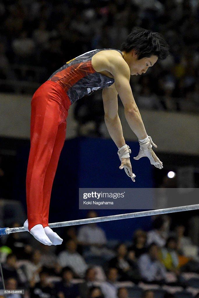 Kazuma Kaya competes in the Horizontal Bar during the Artistic Gymnastics NHK Trophy at Yoyogi National Gymnasium on May 5, 2016 in Tokyo, Japan.
