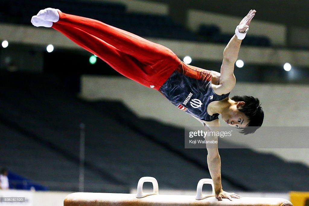 Kazuma Kaya competes on the pommel horse during the All-Japan Gymnastic Appratus Championshipsat Yoyogi National Gymnasium on June 5, 2016 in Tokyo, Japan.