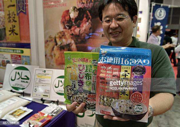 Kazuma Mrotomi executive managing director of Tanesha co ltd displays halal food grain product from Japan at the Oiishi Japan food and beverages...