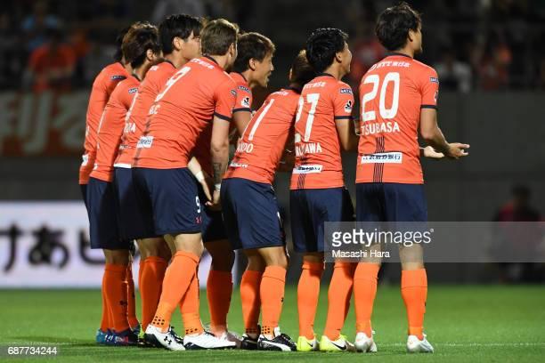 Kazuma Takayama of Omiya Ardija celebrates the first goal during the JLeague Levain Cup Group A match between Omiya Ardija and Shimizu SPulse at NACK...
