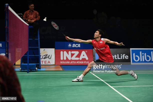 Kazumasa Sakai of Japan competes against Prannoy H S of India during Mens Single Semifinal match of the BCA Indonesia Open 2017 at Plenary Hall...