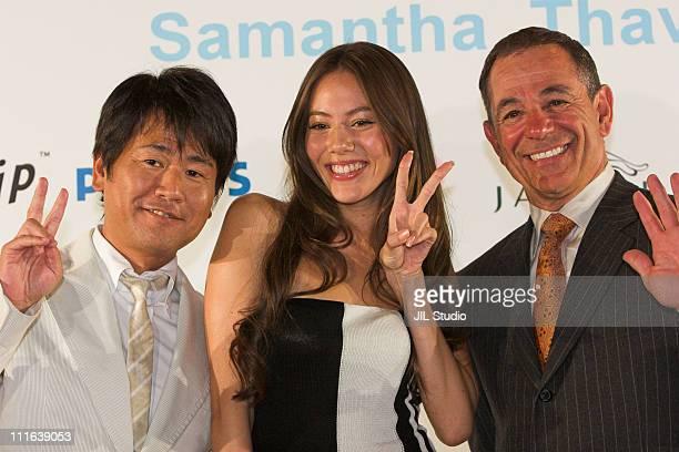 Kazumasa Terada CEO of Samantha Thavasa Japan Jessica Michibata and Booby Valentine Manager of Chiba Lotte Marines of Japan's Pacific League