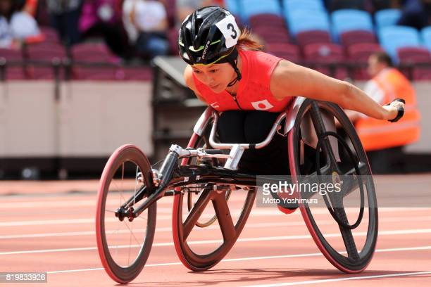 Kazumi Nakayama of Japan competes in the Women's 400m T53 round 1 during Day Five of the IPC World ParaAthletics Championships 2017 London at London...