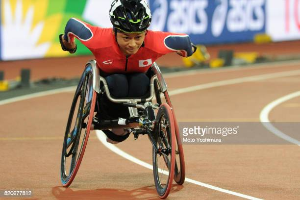 Kazumi Nakayama of Japan competes in the Women's 800m T53 during day six of the IPC World ParaAthletics Championships 2017 at London Stadium on July...
