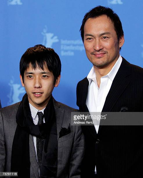Kazunari Ninomiya and Ken Watanabe attend the photocall to promote the movie 'Letters From Iwo Jima' during the 57th Berlin International Film...