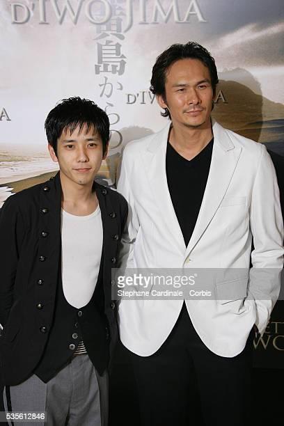 Kazunari Ninomiya and Tsuyoshi Ihara attend the photocall of 'Letters from Iwo Jima' in Paris