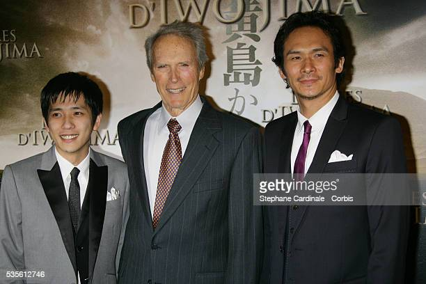 Kazunari Ninomiya Clint Eastwood and Tsuyoshi Ihara attend the premiere of 'Letters from Iwo Jima' in Paris