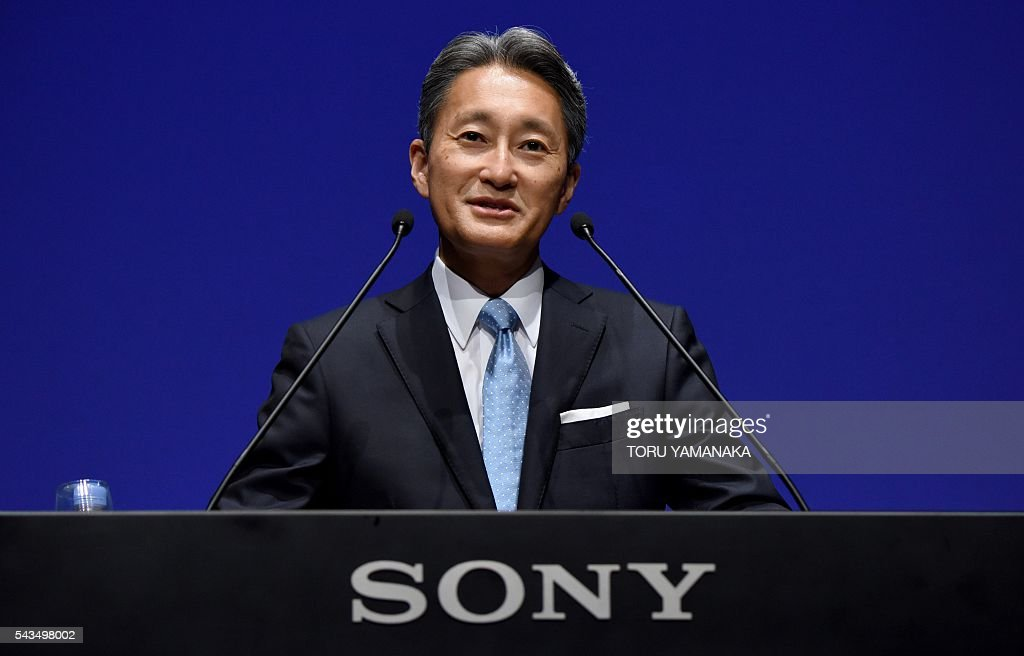 Kazuo Hirai, president and CEO of Japan's Sony Corporation, speaks to journalists during a press conference at the headquarters in Tokyo on June 29, 2016. Sony explained the corporate strategy during the press conference. / AFP / TORU