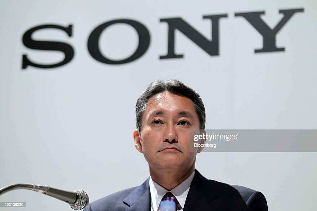 Kazuo Hirai, president and chief executive officer of Sony Corp., attends a joint news conference with Hiroyuki Sasa, president of Olympus Corp., unseen, in Tokyo, Japan, on Monday, Oct. 1, 2012. Sony Corp., seeking ways to revive growth after four years of losses, will invest 50 billion yen ($645 million) in Olympus Corp., the world's biggest maker of endoscopes, according to finance ministry filings. Photographer: Koichi Kamoshida/Bloomberg via Getty Images
