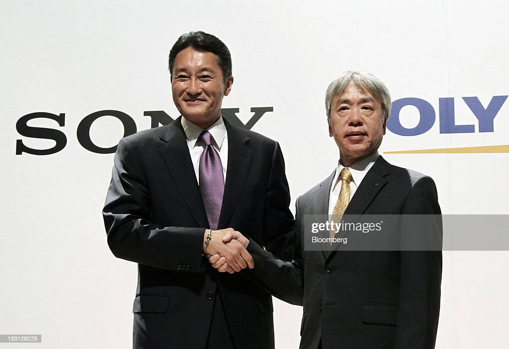 <a gi-track='captionPersonalityLinkClicked' href=/galleries/search?phrase=Kazuo+Hirai&family=editorial&specificpeople=2377874 ng-click='$event.stopPropagation()'>Kazuo Hirai</a>, president and chief executive officer of Sony Corp., left, shakes hands with <a gi-track='captionPersonalityLinkClicked' href=/galleries/search?phrase=Hiroyuki+Sasa&family=editorial&specificpeople=8947910 ng-click='$event.stopPropagation()'>Hiroyuki Sasa</a>, president and chief executive officer of Olympus Corp., during a joint news conference in Tokyo, Japan, on Monday, Oct. 1, 2012. Sony Corp., seeking ways to revive growth after four years of losses, will invest 50 billion yen ($645 million) in Olympus Corp., the world's biggest maker of endoscopes, according to finance ministry filings. Photographer: Koichi Kamoshida/Bloomberg via Getty Images
