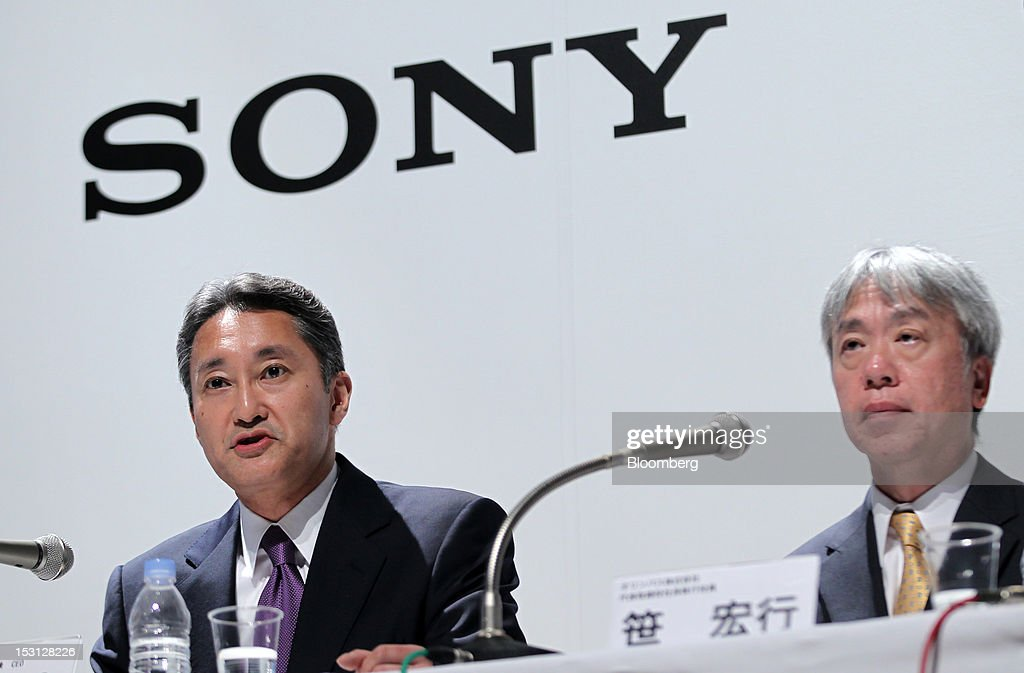 Kazuo Hirai, president and chief executive officer of Sony Corp., left, and Hiroyuki Sasa, president and chief executive officer of Olympus Corp., attend a joint news conference in Tokyo, Japan, on Monday, Oct. 1, 2012. Sony Corp., seeking ways to revive growth after four years of losses, will invest 50 billion yen ($645 million) in Olympus Corp., the world's biggest maker of endoscopes, according to finance ministry filings. Photographer: Koichi Kamoshida/Bloomberg via Getty Images
