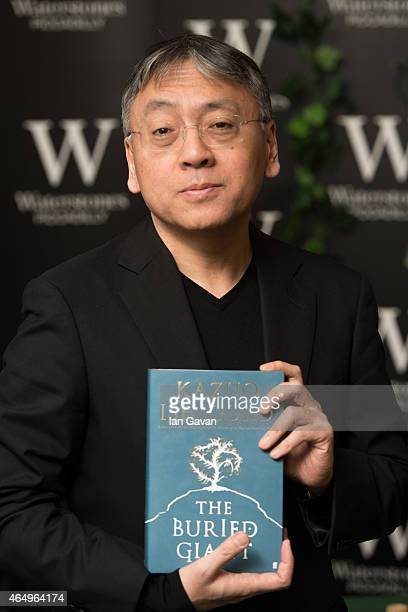 Kazuo Ishiguro meets fans and signs copies of his new novel 'The Buried Giant' at Waterstone's Piccadilly on March 2 2015 in London England