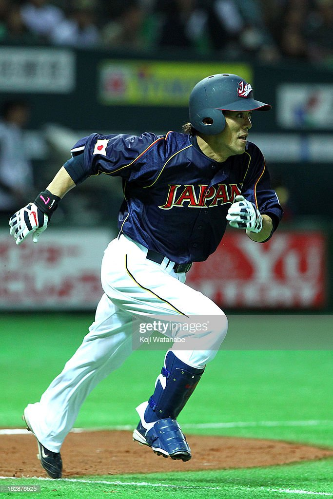 <a gi-track='captionPersonalityLinkClicked' href=/galleries/search?phrase=Kazuo+Matsui&family=editorial&specificpeople=202045 ng-click='$event.stopPropagation()'>Kazuo Matsui</a> #7 of Japan hits a single in the top half of the seventh inning during the friendly game between Yomiuri Giants and Japan at Fukuoka Yafuoku! Dome on February 28, 2013 in Fukuoka, Japan.
