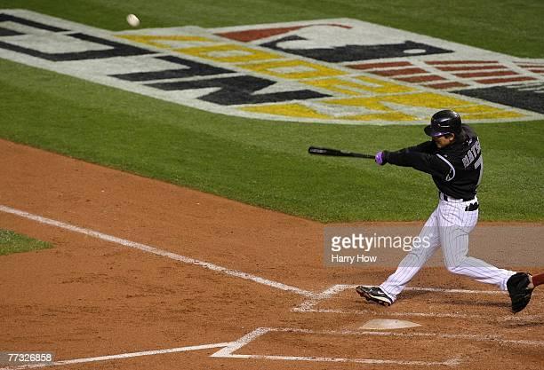 Kazuo Matsui of the Colorado Rockies bats against the Arizona Diamondbacks during Game Three of the National League Championship Series at Coors...