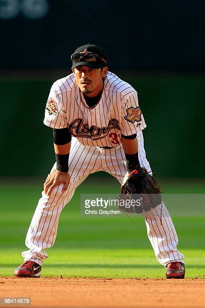 Kazuo Matsui of the Houston Astros against the San Francisco Giants on Opening Day at Minute Maid Park on April 5 2010 in Houston Texas