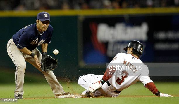Kazuo Matsui of the Houston Astros slides safely into second base as shortstop Jerry Hairston Jr of the San Diego Padres can't handle the throw at...