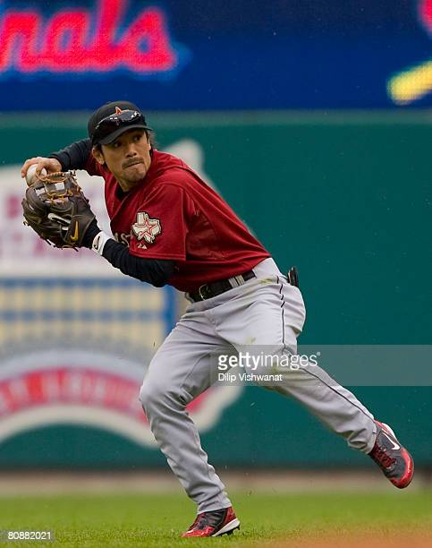 Kazuo Matsui of the Houston Astros throws to first base against the St Louis Cardinals at Busch Stadium April 27 2008 in St Louis Missouri The...