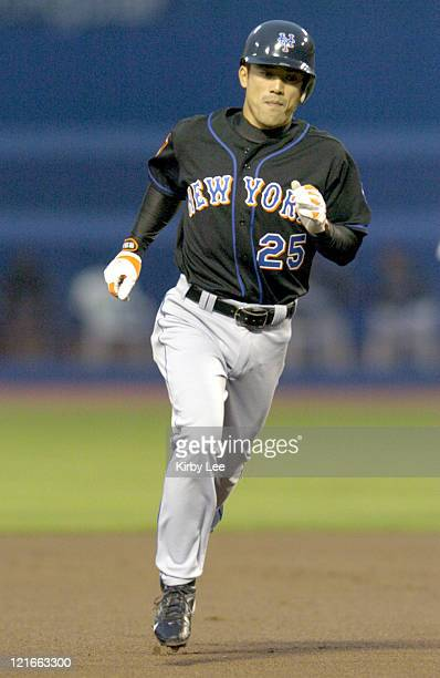 Kazuo Matsui of the New York Mets rounds the bases after a leadoff home run during 32 loss to the Los Angeles Dodgers at Dodger Stadium on Wednesday...