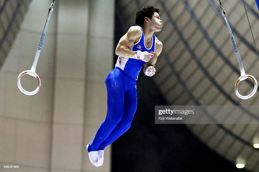 Kazushi Takeda competes on the parrallel bars during the All-Japan Gymnastic Appratus Championshipsat Yoyogi National Gymnasium on June 5, 2016 in Tokyo, Japan.