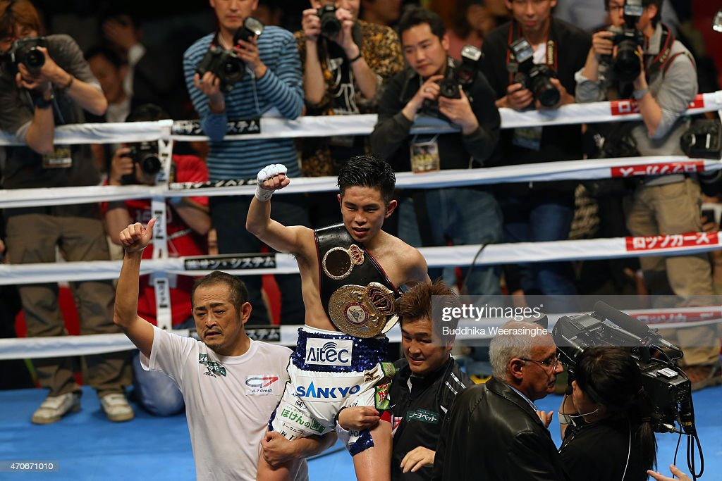 <a gi-track='captionPersonalityLinkClicked' href=/galleries/search?phrase=Kazuto+Ioka&family=editorial&specificpeople=7488576 ng-click='$event.stopPropagation()'>Kazuto Ioka</a> of Japan celebrates after victory over Juan Carlos Reveco of Argentina during the WBA World Flyweight Title Bout at the Osaka Prefectural Gymnasium on April 22, 2015 in Osaka, Japan.