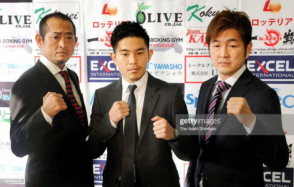 <a gi-track='captionPersonalityLinkClicked' href=/galleries/search?phrase=Kazuto+Ioka&family=editorial&specificpeople=7488576 ng-click='$event.stopPropagation()'>Kazuto Ioka</a> (C) of Japan poses for photographs with his uncle and former world champion Hiroki Ioka (R) and father Kazunori Ioka (L) during a press conference on March 2, 2015 in Osaka, Japan. Ioka will challenge to the WBA Flyweight champion Juan Carlos Reveco on April 22.