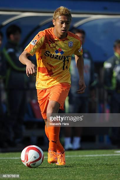 Kazuya Murata of Shimizu SPulse in action during the JLeague Yamazaki Nabisco Cup match between Yokohama FMarinos and Shimizu SPulse at Nippatsu...