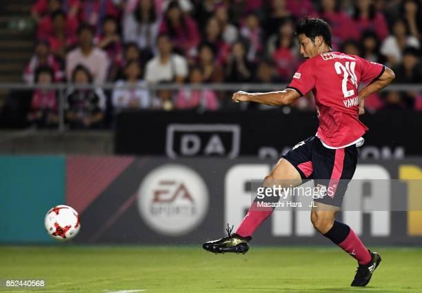 Kazuya Yamamura of Cerezo Osaka shoots at goal during the JLeague J1 match between Cerezo Osaka and Vegalta Sendai at Kincho Stadium on September 23...