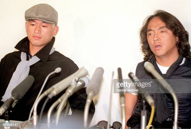 Kazuyoshi Miura and Tsuyoshi Kitazawa speak during a press conference after being dropped from 1998 France World Cup squad at New Tokyo International...