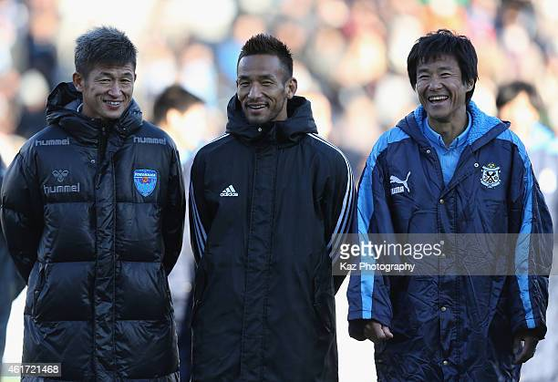 Kazuyoshi Miura Hidetoshi Nakata and Masashi Nakayama look on after the Daisuke Oku Memorial Match between J Amigos and Yokohama Friends at Yamaha...