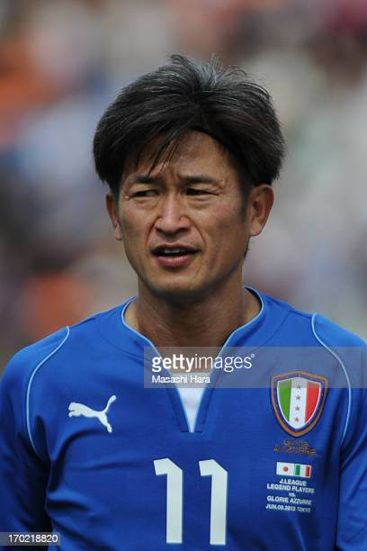 Kazuyoshi Miura looks on during the JLeague Legend and Glorie Azzurre match at the National Stadium on June 9 2013 in Tokyo Japan