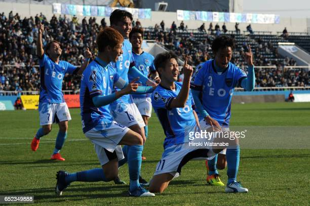 Kazuyoshi Miura of Yokohama FC celebrates scoring his team's first goal during the JLeague J2 match between Yokohama FC and Thespa Kusatsu Gunma at...
