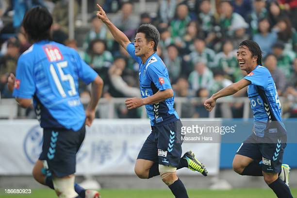 Kazuyoshi Miura of Yokohama FC celebrates the first goal during the JLeague second division match between Yokohama FC and Matsumoto Yamaga FC at...