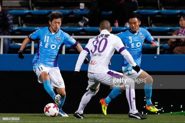 Kazuyoshi Miura of Yokohama FC controls the ball during the JLeague J2 match between Yokohama FC and Kyoto Sanga at Mitsuzawa Soccer Stadium on April...