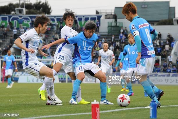Kazuyoshi Miura of Yokohama FC in action during the JLeague J2 match between Yokohama FC and Tokushima Vortis at Nippatsu Mitsuzawa Stadium on March...