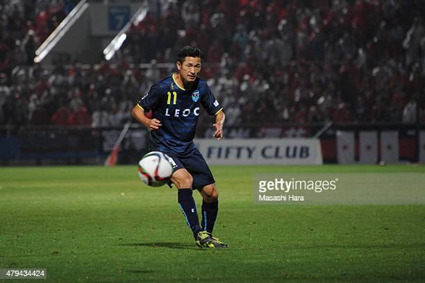 Kazuyoshi Miura of Yokohama FC in action during the JLeague second division match between Yokohama FC and Consadole Sapporo at Nippatsu Mitsuzawa...
