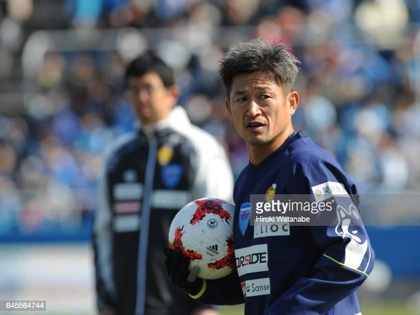 Kazuyoshi Miura of Yokohama FC in action prior to the JLeague J2 match between Yokohama FC and Matsumoto Yamaga at Nippatsu Mitsuzawa Stadium on...