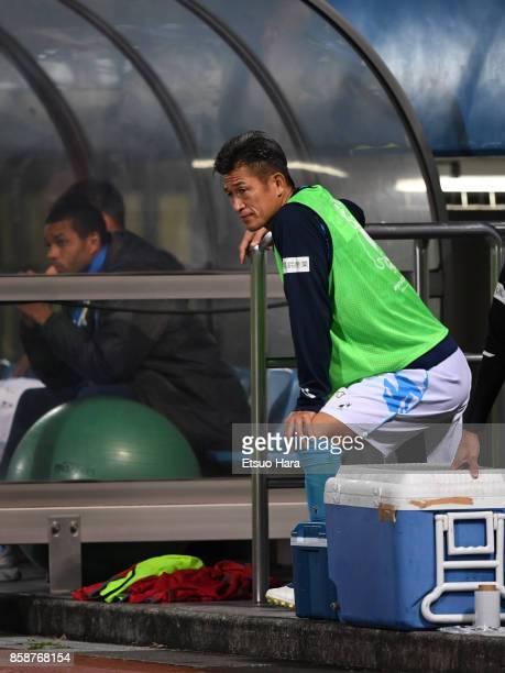 Kazuyoshi Miura of Yokohama FC is seen during the JLeague J2 match between Yokohama FC and Avispa Fukuoka at Nippatsu Mitsuzawa Stadium on October 7...