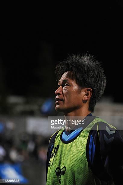 Kazuyoshi Miura of Yokohama FC looks on after the JLeague second division match between Yokohama FC and JEF United Chiba at Nippatsu Mitsuzawa...