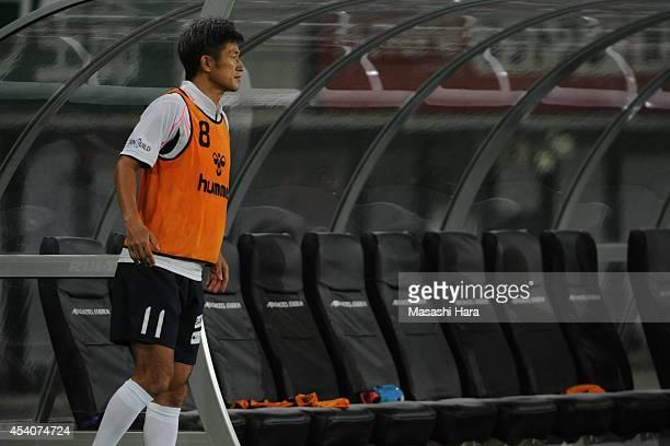 Kazuyoshi Miura of Yokohama FC looks on during the J League second division match between Tokyo Verdy and Yokohama FC at Ajinomoto Stadium on August...